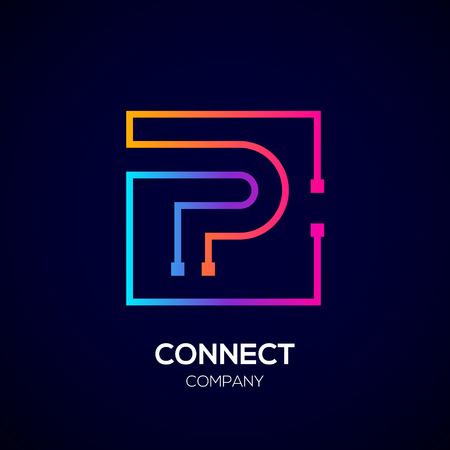 Letter P Square shape, Colorful, Technology and digital abstract dot connection. Ilustração Vetorial