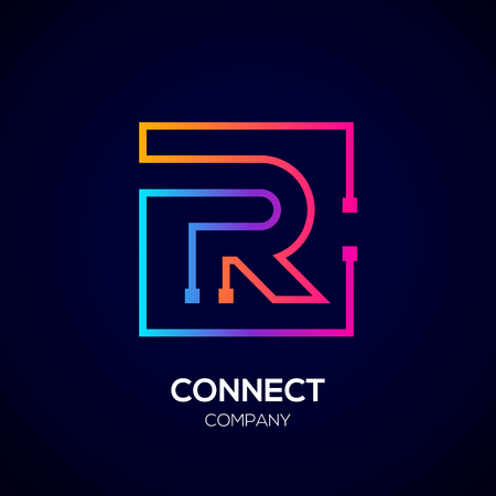 Letter R Square shape, Colorful, Technology and digital abstract dot connection.