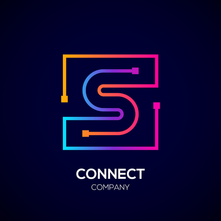 Letter S Square shape, Colorful, Technology and digital abstract dot connection. Иллюстрация