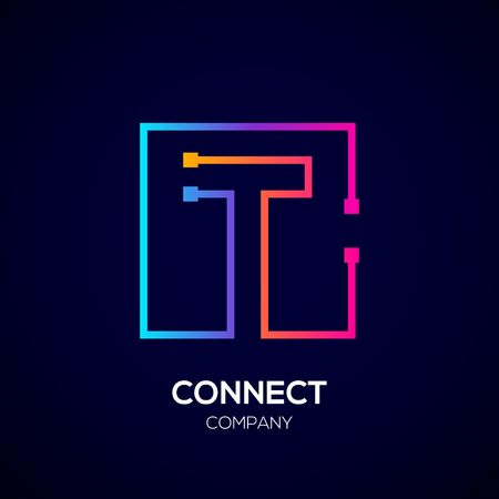 Letter T Square shape, Colorful, Technology and digital abstract dot connection. Иллюстрация