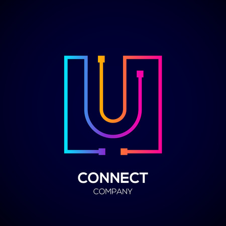 Letter U Square shape, Colorful, Technology and digital abstract dot connection. Иллюстрация
