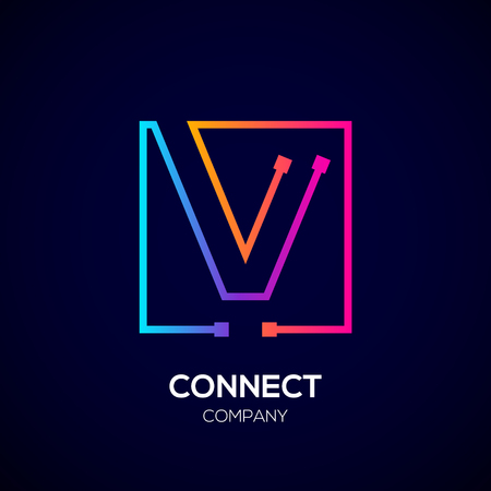 Letter V Square shape, Colorful, Technology and digital abstract dot connection. Иллюстрация