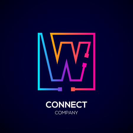 Letter W Square shape, Colorful, Technology and digital abstract dot connection.