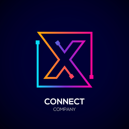 Letter X Square shape, Colorful, Technology and digital abstract dot connection. Иллюстрация