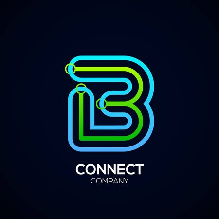 Letter B Design, Circle shape, Link, Technology and digital, connection vector logotype. Иллюстрация