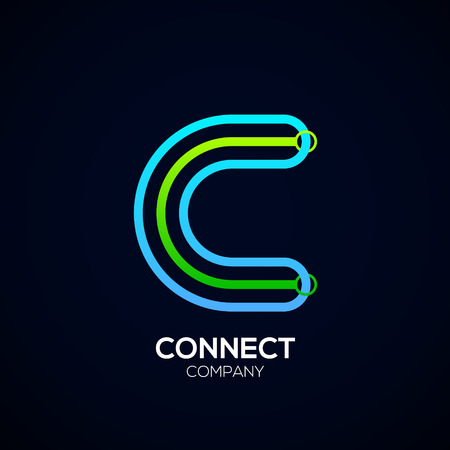 Letter C Design, Circle shape, Link, Technology and digital, connection vector logotype.