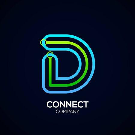 Letter D Design, Circle shape, Link, Technology and digital, connection vector logotype. Иллюстрация