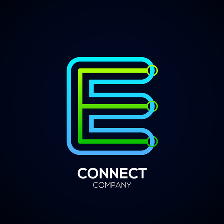 Letter E Design, Circle shape, Link, Technology and digital, connection vector logotype.