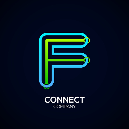 Letter F Design, Circle shape, Link, Technology and digital, connection vector logotype. Иллюстрация