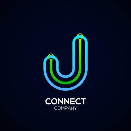 Letter J Design, Circle shape, Link, Technology and digital, connection vector logotype. Иллюстрация