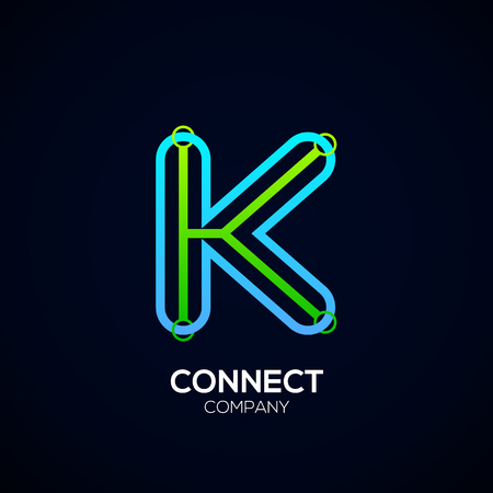 Letter K Design, Circle shape, Link, Technology and digital, connection vector logotype.