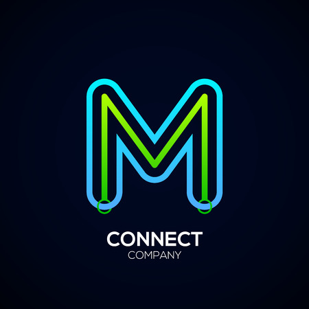 Letter M Design, Circle shape, Link, Technology and digital, connection vector logotype.
