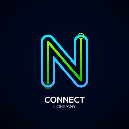 Letter N Design, Circle shape, Link, Technology and digital, connection vector logotype.