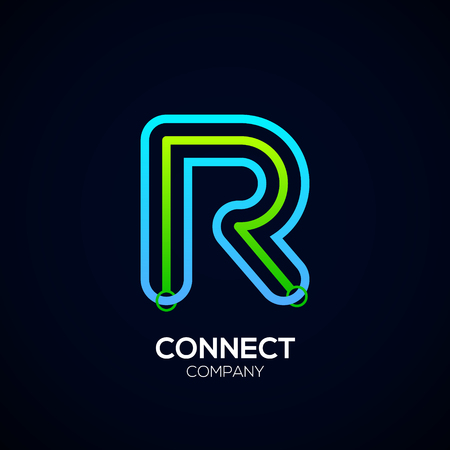Letter R Design, Circle shape, Link, Technology and digital, connection vector logotype.