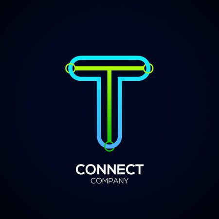 Letter T Design, Circle shape, Link, Technology and digital, connection vector logotype. Иллюстрация