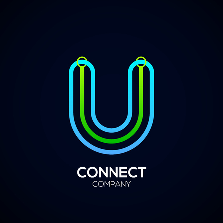 Letter U Design, Circle shape, Link, Technology and digital, connection vector logotype.