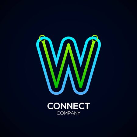 Letter W Design, Circle shape, Link, Technology and digital, connection vector logotype. Фото со стока - 93762766