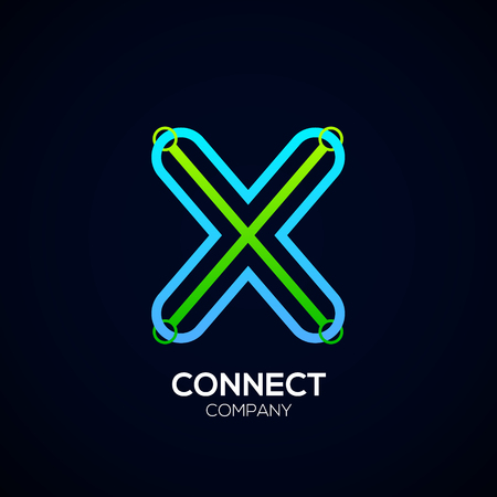 Letter X Design, Circle shape, Link, Technology and digital, connection vector logotype.