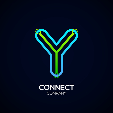 Letter Y Design, Circle shape, Link, Technology and digital, connection vector logotype.
