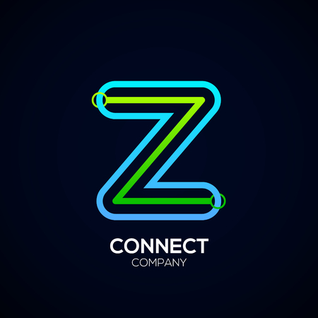 Letter Z Design, Circle shape, Link, Technology and digital, connection vector logotype. Иллюстрация