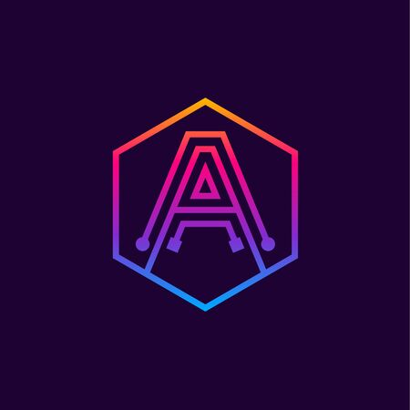 Letter A colorful, Dots, linear hexagon shape, Digital and Technology for your Corporate identity.