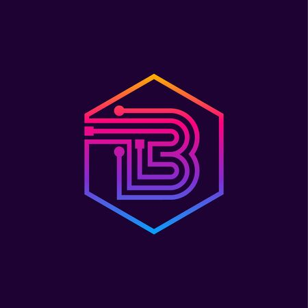 Letter B colorful, Dots, linear hexagon shape, Digital and Technology for your Corporate identity.