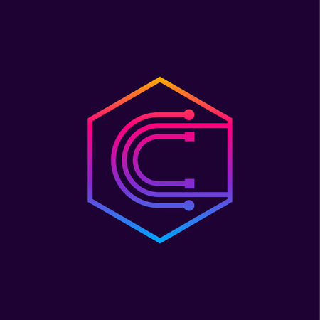 Letter C colorful, Dots, linear hexagon shape, Digital and Technology for your Corporate identity.