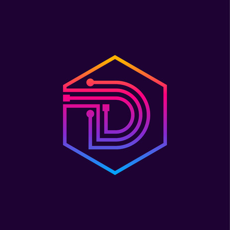 Letter D colorful, Dots, linear hexagon shape, Digital and Technology for your Corporate identity.