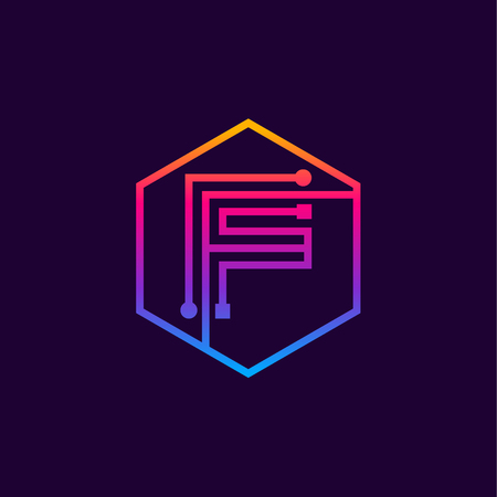 Letter F colorful, Dots, linear hexagon shape, Digital and Technology for your Corporate identity. Фото со стока - 93762928