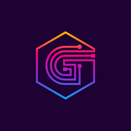 Letter G colorful, Dots, linear hexagon shape, Digital and Technology for your Corporate identity.