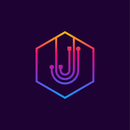 Letter J colorful, Dots, linear hexagon shape, Digital and Technology for your Corporate identity. Illusztráció