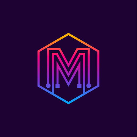 Letter M colorful, Dots, linear hexagon shape, Digital and Technology for your Corporate identity. Illusztráció