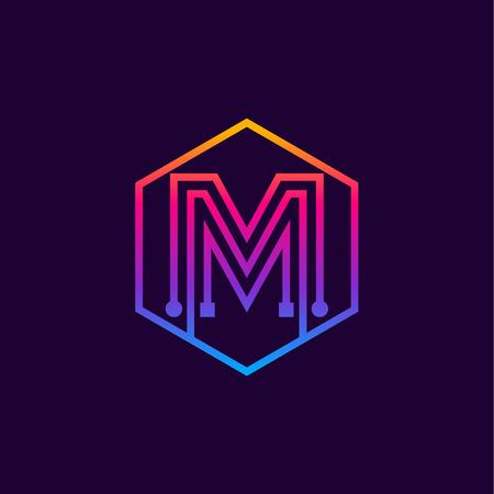 Letter M colorful, Dots, linear hexagon shape, Digital and Technology for your Corporate identity. Illusztráció