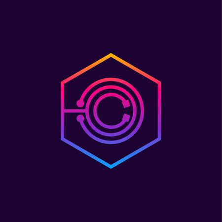 Letter O colorful, Dots, linear hexagon shape, Digital and Technology for your Corporate identity. Illusztráció