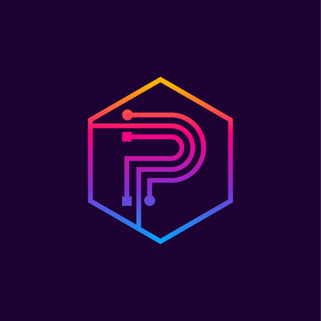 Letter P colorful, Dots, linear hexagon shape, Digital and Technology for your Corporate identity. Фото со стока - 93762938