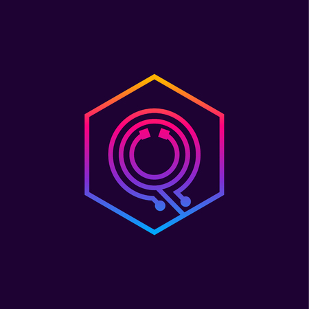 Letter Q colorful, Dots, linear hexagon shape, Digital and Technology for your Corporate identity. Фото со стока - 93762939