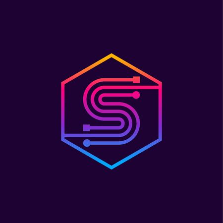 Letter S colorful, Dots, linear hexagon shape, Digital and Technology for your Corporate identity.