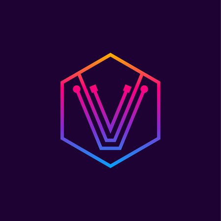 Letter V colorful, Dots, linear hexagon shape, Digital and Technology for your Corporate identity. Фото со стока - 93763241