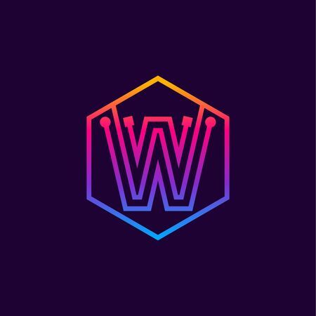 Letter W colorful, Dots, linear hexagon shape, Digital and Technology for your Corporate identity.