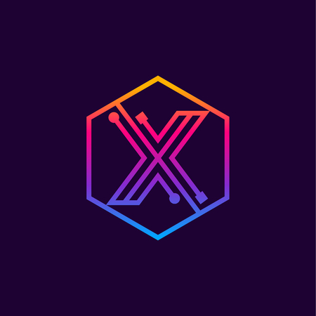 Letter X colorful, Dots, linear hexagon shape, Digital and Technology for your Corporate identity. Illusztráció
