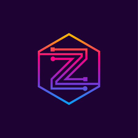 Letter Z colorful, Dots, linear hexagon shape, Digital and Technology for your Corporate identity. Illusztráció