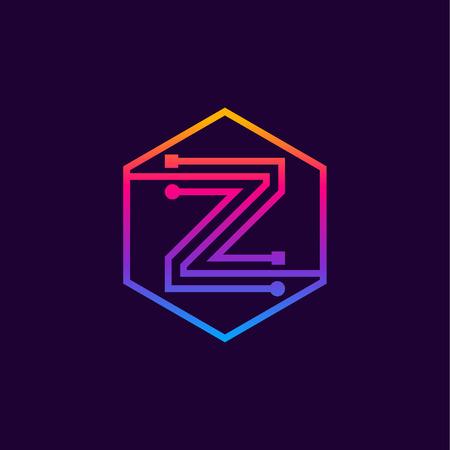 Letter Z colorful, Dots, linear hexagon shape, Digital and Technology for your Corporate identity. Illusztráció