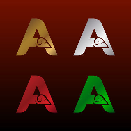Letter A Initialization  with Thai art style, Metallic Glossy texture, Gold and Silver, Red and Green, Beautiful Luxury, Thai vintage design for your Corporate identity.