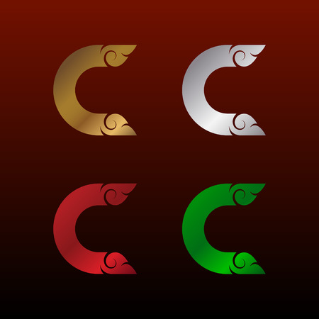 Letter C Initialization  with Thai art style, Metallic Glossy texture, Gold and Silver, Red and Green, Beautiful Luxury, Thai vintage design for your Corporate identity.