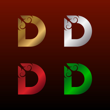 Letter D logotype with Thai art style, Metallic Glossy texture, Gold and Silver, Red and Green, Beautiful Luxury, Thai vintage Logo for your Corporate identity