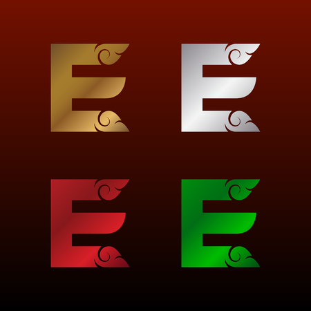 Letter E logotype with Thai art style, Metallic Glossy texture, Gold and Silver, Red and Green, Beautiful Luxury, Thai vintage Logo for your Corporate identity Иллюстрация