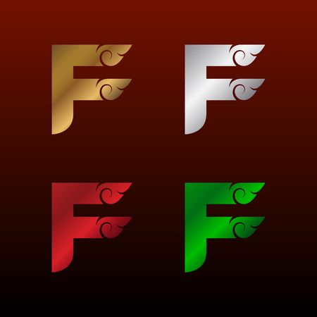Letter F logotype with Thai art style, Metallic Glossy texture, Gold and Silver, Red and Green, Beautiful Luxury, Thai vintage Logo for your Corporate identity Иллюстрация