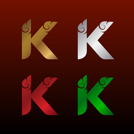 Letter K icon with Thai art style, Metallic glossy texture, gold and silver, red and green. Beautiful luxury, Thai vintage icon for your corporate identity. Illusztráció