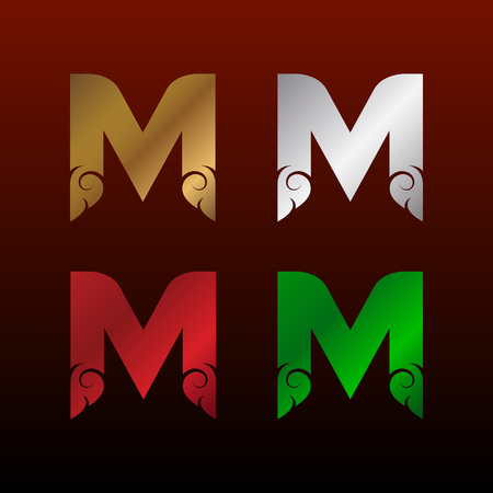 Letter M icon with Thai art style. Metallic glossy texture, gold and silver, red and green. Beautiful luxury, Thai vintage icon for your corporate identity. Фото со стока - 93804143