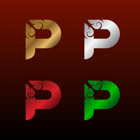 Letter P icon with Thai art style, Metallic glossy texture, gold and silver, red and green. Beautiful luxury, Thai vintage icon for your corporate identity. Фото со стока - 93803590